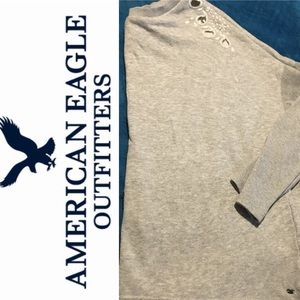 American Eagle Outfitters Gray Embroidered Sweater